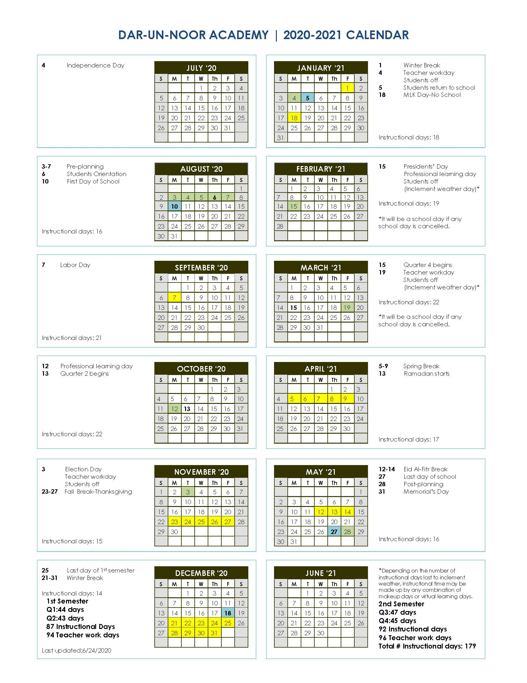 Academic Calendar – Dar un Noor Academy